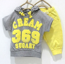 Baby suits girls boys cream 369 short sleeve hoodies pants 2pcs clothing set childrens yellow red summer clothes whole suits(China)
