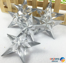 Christmas ornaments window decorated snow and ice effect 7CM 6pcs silver acrylic five - star