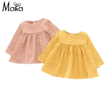 Grils Princess Dress Spring Yellow Dots Clothes England Style Cotton Dress For Baby Toddler Girl Long Sleeve Tutu Party Dresses