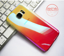 Phone Case For Samsung Galaxy S7 edge Blue Ray Case For Galaxy S7 edge Ultra Slim Gradient Color Hard PC Back Cover