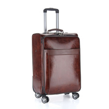 Business casual travel luggage Bags men's board chassis suitcase caster 20 24 inch trolley oil skin lockbox rolling trolley bag(China)