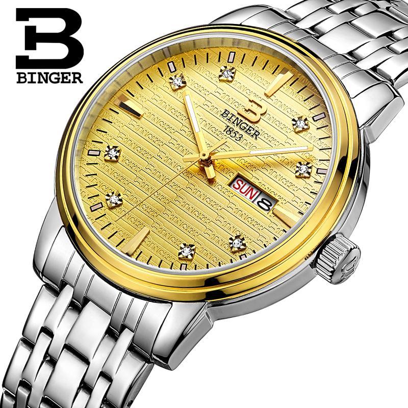 Switzerland mens watch luxury brand Wristwatches BINGER ultrathin Quartz clock full stainless steel glowwatch B3036-5<br>
