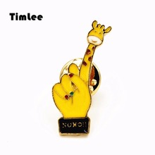 Timlee X240  Free shipping Cute Cartoon Hand  Giraffe Brooch Pins,Fashion Jewelry Wholesale