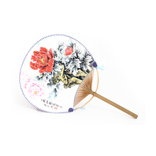 Round Paper Fans Silk fabric Bamboo Handle Fans with  Red Flowers Pattern Chinese Traditional Culture Handwork Crafts