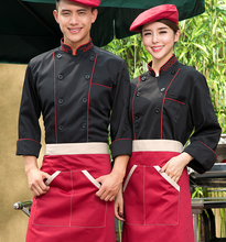 Chef's Long Sleeve Clothes  Chef Uniform  Men and Women Hotel Kitchen Clothing  Pastry Overalls Black Only Top