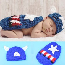 Crochet Pattern Captain America Newborn Photo Prop Outfit Knitted Baby Hat with Cape Handmade Infant Costume Set H231