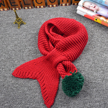 Children Handmade Knitted Mermaid Scarf Crochet Scarf Colorful Ball Winter Fashion Wrap Kids Girls Knitted Scarves AQ985086