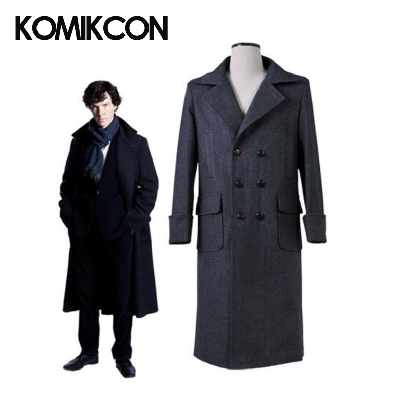 Sherlock Holmes Cape Coat Cosplay Costume Man Winter Trench Wool Warm Windbreaker Black Long Jacket Halloween Christmas Outwear