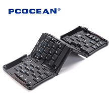 Pcocean Mini pocket Folding Keyboard Bluetooth Wireless Keyboard Travel Keypad With Stand Holder for PC Tablet iphone ipad