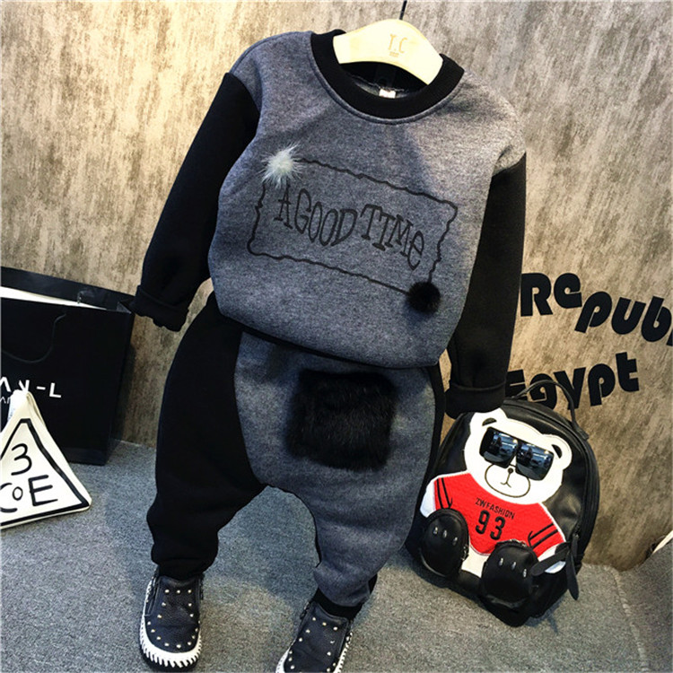 Kids 2016 winter boys with Korean fashion cashmere two piece suit free shipping<br><br>Aliexpress