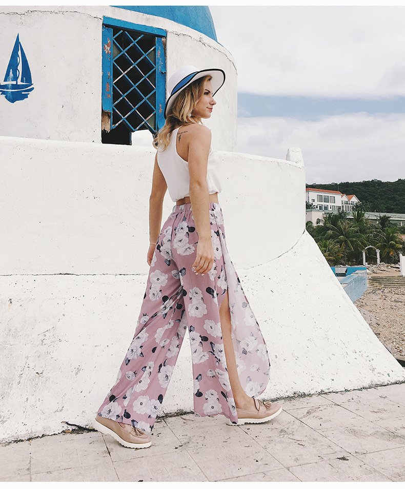 2018 Women Pants Beach Floral Print High Waist Plus Size Loose Chiffon Casual Wide Leg Pants Pink Split Sexy Women Trousers Sale 11