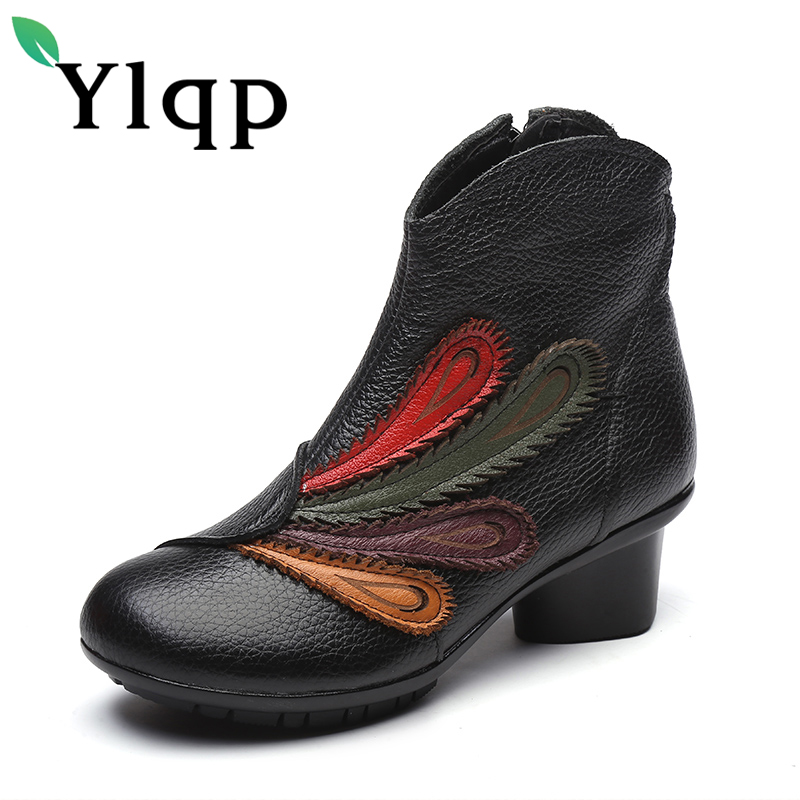 Ylqp Brand 2017 Winter Women Genuine Leather Boots Female Folk Style Comfortable Warm Shoes Woman Ankle Boots Sapato Feminino<br>