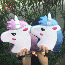 Fashion personality trend of laser sequins Unicorn shape shoulder bag handbag pink & blue ladies purse crossbody messenger bag