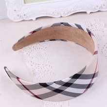 2017 Hot Sale Women's Headband,Black White Beige Fashion Plaid Hair Ribbons ,Hairands for Adult H191(China)