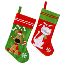 Free shipping! 80pcs/lot Christmas Pet Stocking with Lovely Dog and Cat Embroidery 19*40 cm Felt Material(China)