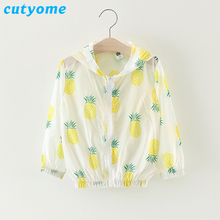 Cutyome Baby Girls Summer Jacket Coats Toddler Kids Pineapple Fashion Sunscreen Bomber Jackets * 2017 Cheap Little Child Clothes(China)
