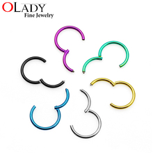 Hinged Segment Ring[100% Titanium G23] 4 Sizes 6 colors Piercing body jewelry Nose Septum Lip Nipple Tragus Cartilage Ring(China)