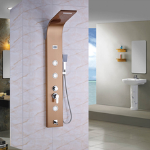 Rose Golden Panel Shower Column Stainless Steel Rain Waterfall Massage System Faucet Handshower Digital Temperature Display
