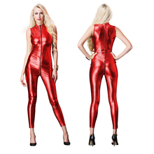 Buy Sexy Jumpsuit Women Vinyl Catsuit Women Faux Leather Black Gold Red Silver Bodysuit Sexy Erotic Open Crotch PU Latex Catsuit