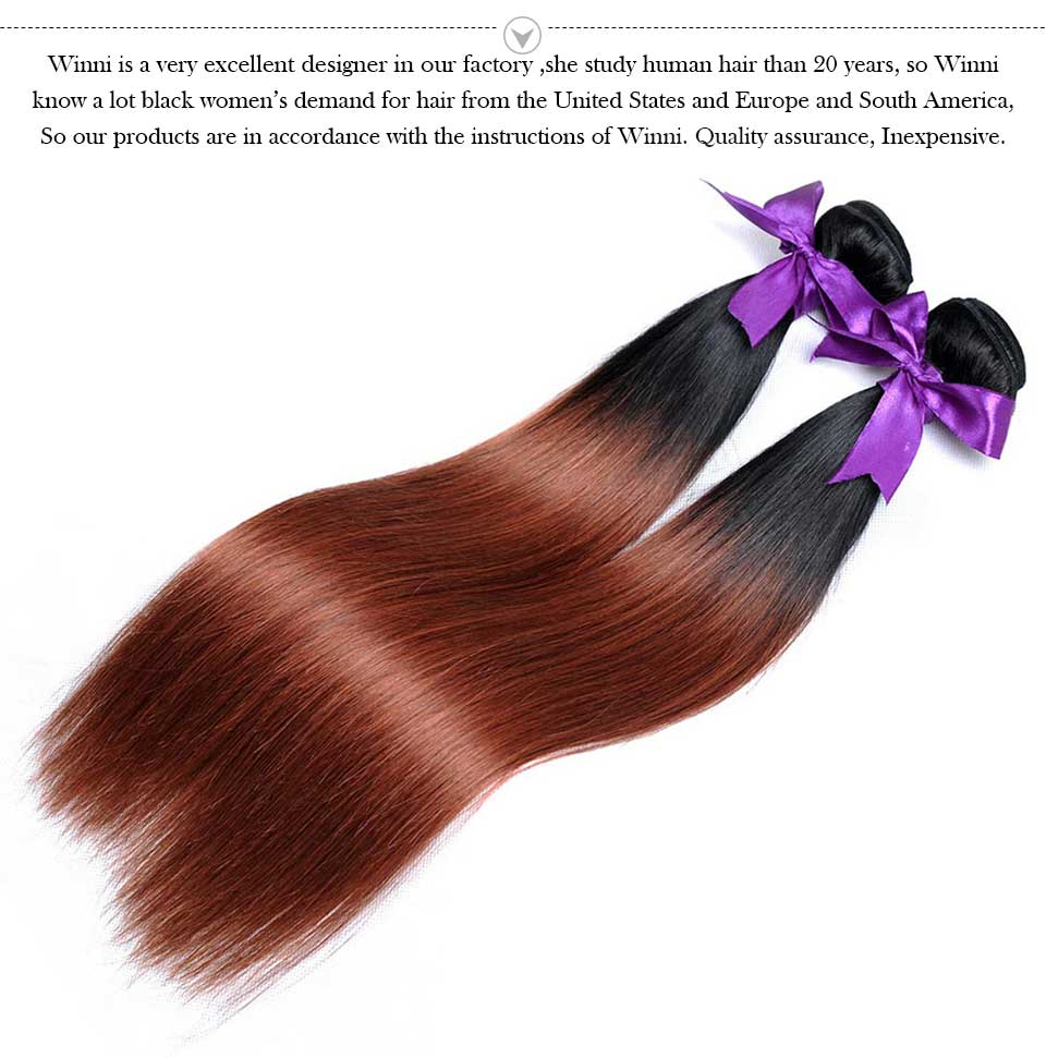 Ombre Peruvian Straight Hair Bundles 2 Two Tone 1B 33 Human Hair Extensions 100G Shining Star Thick Non-Remy Weave Hair 1Pc