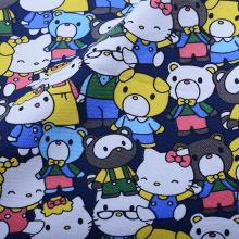 90*145cm patchwork Canvas fabric cartoon Hello Kitty with family friend fabric for Tissue Kids curtain tablecloth for Sewing