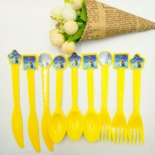 30pcs/bag Minions Knives/Forks/Spoons Cartoon Theme Party For Kids Happy Birthday Decoration Theme Party Supplies Minions party