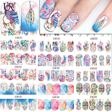 1 Sheets Women Colorful Decals Nail Art Water Transfer Designs Full Wraps Nail Stickers Beauty Nail Decorations BEBN301-309