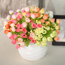 Mini 15 Heads Silk Flowers Artificial Flower Festival Patriarch Placed Rose Flower For Wedding Home Party Decoration
