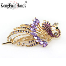 Free Shipping Amazing Palace Luxury phoenix peacock Hair pin fashion crystal bird jewelry vintage accessories dance party gift(China)