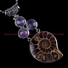 JUWEILI Jewelry 10pcs Natural Stone 3 Beads Different Half Ammonite Conch Petrification Reiki Pendant Necklaces Women Men Amulet(China)