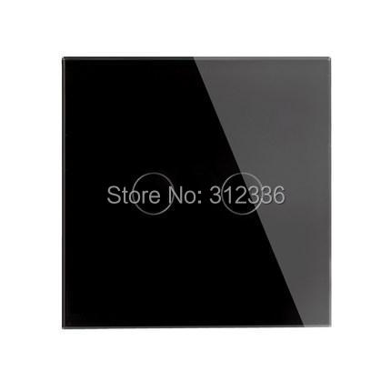 free shipping  2 gang 1 way Black Color panel control wall switch Glass touch switch tempering glass super  thickness is 5 mm<br>