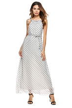 Summer Style High Fashion White Dress New Fashion Design Sweet Cute Polka Dot Pattern Printed Long Dress Lady Long Halter Dress