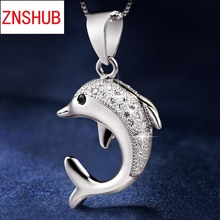 Hot new high quality 925 sterling silver pendant necklace fine female dolphin inlaid crystal design pendant jewelry wholesale