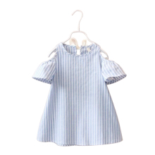 2 3 4 5 6 7 8 Year Girls Clothes Summer Style Stripe Kids Dresses for Girl Fashion Off-The-Shoulder Childrens Clothing(China)