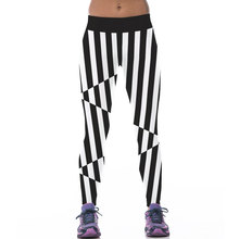 Black And White Stripes 2016 New Sexy Women's Exercise Leggings Fitness Workout Trousers 3D Print Exercise Pants Jeggings
