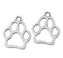 Vintage Silver Bronze Animal Cat Dog Collar Tag Pet Paw  Charms Pendant For Jewelry Making Findings Bracelets Gifts 100PCS Z1310