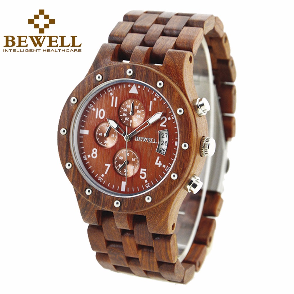 BEWELL Mens Wrist Watch Top Brand Luxury Wood Quartz Watches Clock saat Chronograph Relogio Masculino Dropship Supplier 109D<br>