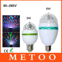 Full Color 3W 6W RGB Led Lamps E27 Lampada Led Bulb AC 85-265V 110V 220V Auto Rotating Stage Lights Projector For DJ Party Show