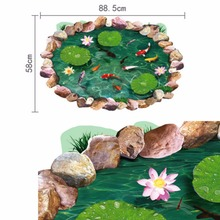 30F# New PVC 3D Lotus Floor Wall Sticker Removable Mural Decals Art Decor Bathing Room 60x90CM Factory Price(China)