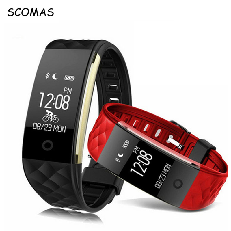SCOMAS S2 Smart Bracelet Wristband Sports Fitness Tracker Heart Rate Monitor IP67 Waterproof Bluetooth Smartband Android IOS