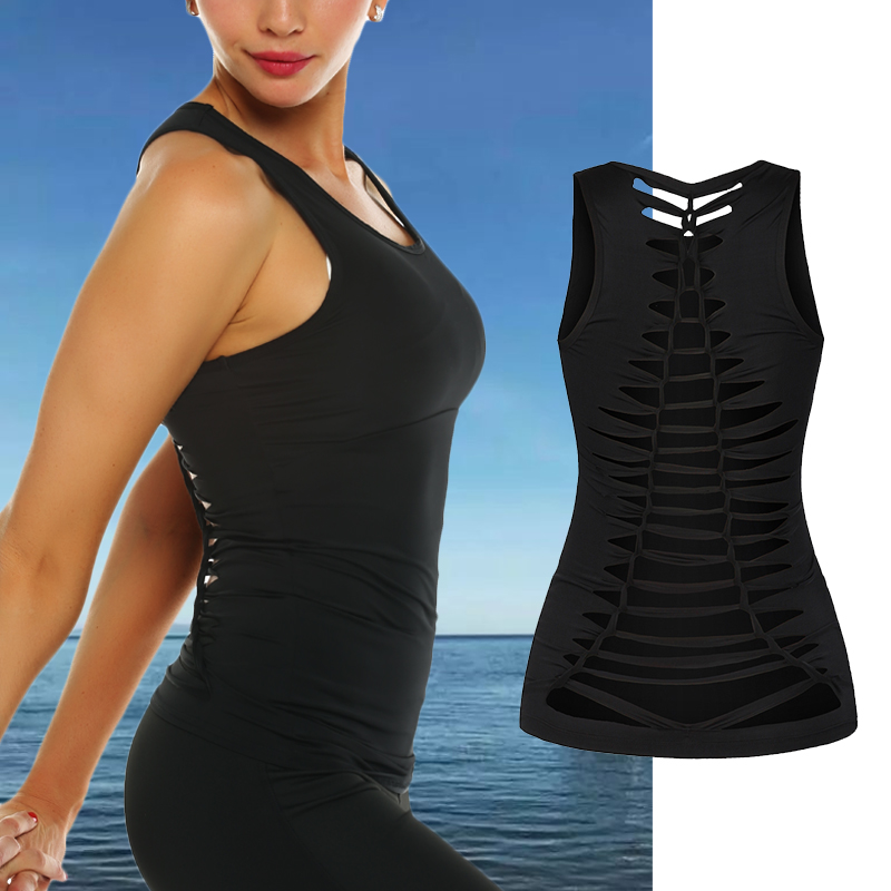 Women Quick Dry Yoga Shirt Tops ,Wirefree Padded Shockproof Sports Bras 4