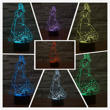 New Night Light 3D 7 Colors Changing Princess Beautiful Elegant girl with Skirt LED Table Lamp as Children Christmas Gifts(China)