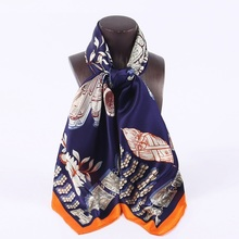 High Style Soft Satin Silk Scarf Wraps Women Large Square Silk Scarfs Shawl Hand Roll 88x88cm(China)