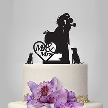 2017 Acrylic Sweet Moment Wedding Cake Topper/Wedding Stand/Wedding Decoration Wedding Cake Accessories Casamento 2 Dogs