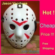 Black Friday Jason Voorhees Freddy hockey Festival Party Mask White With Red Line 100gram PVC For Halloween Masks 50pcs/lot
