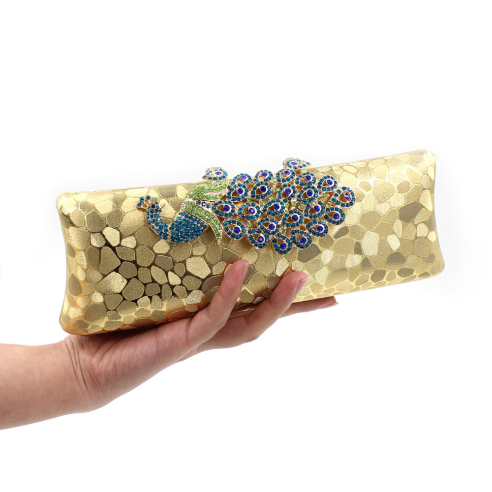 Women Bag Colorful Sequins High-grade Diamond Peacock Women Evening Clutch Bags For Wedding Party Purses<br>