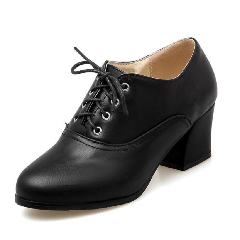 Comfortable Thick Heels Shoes Round Toe Fashion Brogue Women Pumps Lace Up Retro Mid Chunky Heels Oxford Wing Tip leisure Shoes<br>