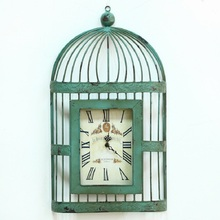 Metal wall clock wrought iron cage American vintage jewelry at home to do the old antique craft pointer large digital wall clock