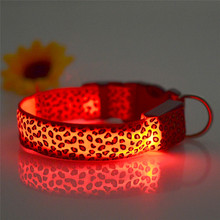 Flashing In Dark Safety LED Dog Collar  Fashion Leopard Nylon 3 Mode Lighting LED Pet Collar 2.5cm Wide Luminous Pet Products