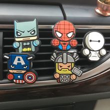 Car Styling Air Conditioner Vent Air Freshener Car Perfume Cartoon The Avengers Marvel Style 2ML Long Lasting(China)